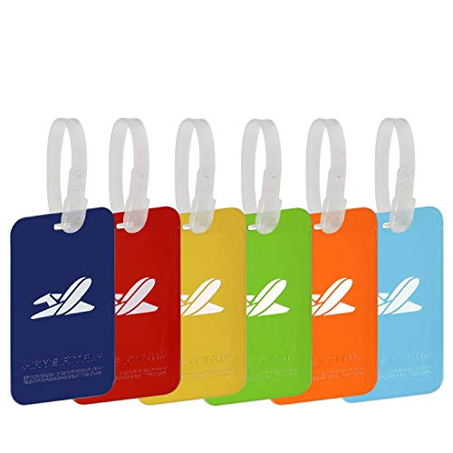 Carnival Cruise Luggage Tags Etag Holders Zip Seal and Rubber Loops Baggage Suitcase Travel Ship Tag Sets Bulk for Women Kids Men Girl Pet Durable Waterproof Secure Personalized with Multi Color 6P