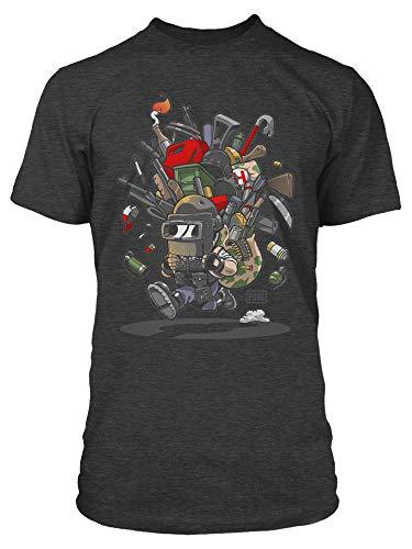 Like Chicken T-shirt - JINX PUBG Looted Men's Tee Shirt (Charcoal Heather, Small)