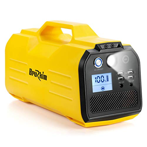 BruRkim 296Wh Solar Generator, 400W Portable Power Station, CPAP Backup Battery Power Supply with 3 AC Outlet, 2 DC Output, 4 USB Output Off-Grid for Camping/Hurricane/Emergency (Yellow) Uncategorized