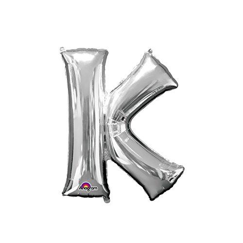 Regina 106443.6, Balão Metalizado Super Shape Letra K Pack, Prata