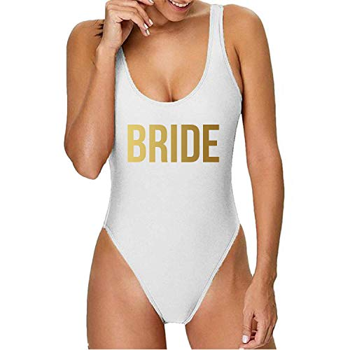 Gifts by PR Bathing Suit High Cut One Piece for Bride Maid of Honor and Bridesmaid Bachelorette Party Swimwear XS - Bride White