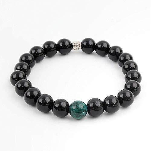 Haruto Geneva - 10mm Chakra Natural Stone Bead Bracelet for Yoga, Meditation, Buddhism, Relaxation (Green) ()