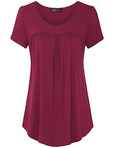 Vinmatto Women's Scoop Neck Pleated Blouse Top Tunic Shirt (M, Purple Red)