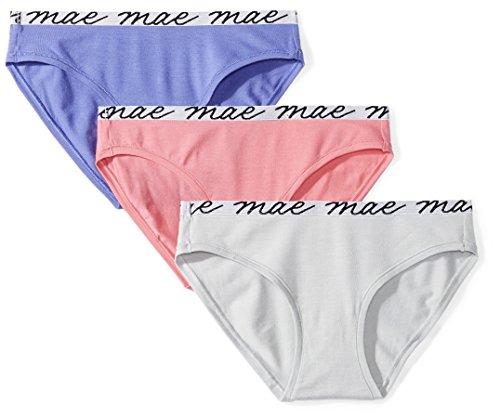 Amazon Brand - Mae Women's Shine Logo Elastic Modal Bikini, 3 Pack,Blue Iris/High Rise Grey/Pink Lemonade,X-Large