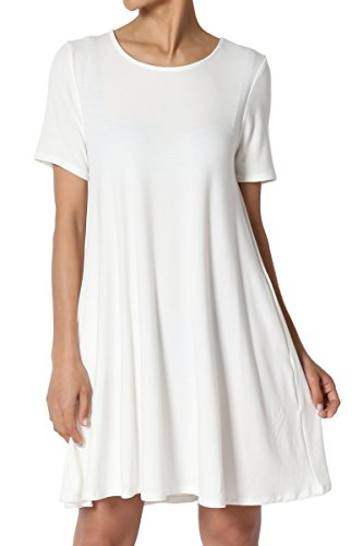 TheMogan Women's Round Neck Short Sleeve Pocket Flared Long Tunic Top Ivory 2XL