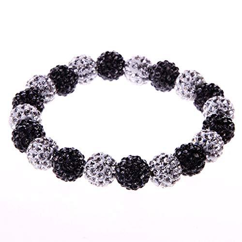 BodyJ4You Disco Balls Bracelet 19 Black Beads Pave Crystals Stretch Wrist Iced Out Jewelry ()