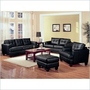 (Coaster Samuel 3 Piece Leather Sofa Set in Black)