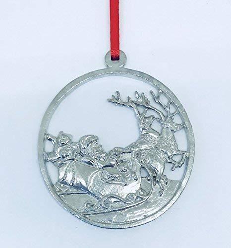 (620 Santa and Reindeer Christmas Night Ornament Pewter)