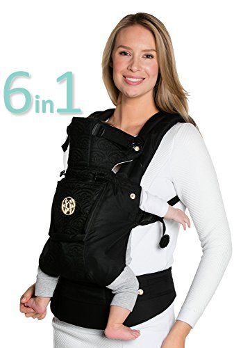 Black Suedecloth - LÍLLÉbaby The COMPLETE Embossed Luxe SIX-Position, 360° Ergonomic Baby & Child Carrier, Noir Black