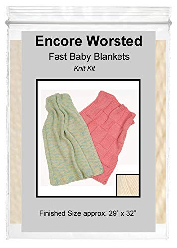 """Fast Baby Blanket"" Knit Kit with Encore Worsted Yarn (Creamy White)"