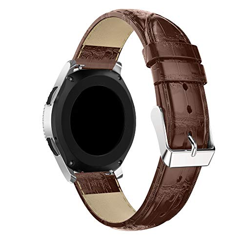 Leather Watch Bracelet for Samsung Galaxy - Replacement Watch Strap Band for Samsung Galaxy Watch 46mm (Brown)