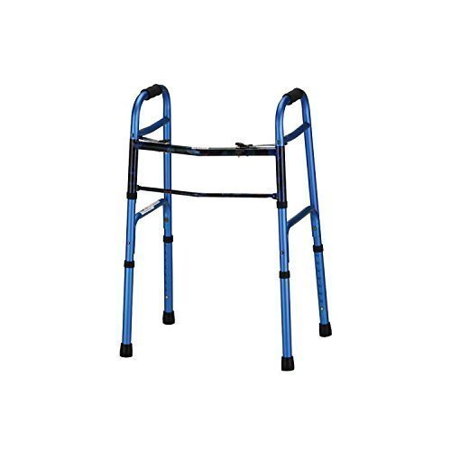 Daily Mobility Aids Blue Folding Walker 5 inch Wheels Dual Button Release