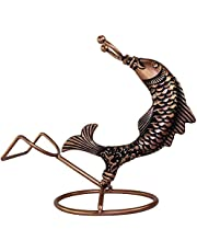Beautiful Creative Fish Wine Rack Statue Wine Bottle Holder Wrought Iron Sculpture Ornaments Red Wine Stand Accessories Home Bar Decor Gift Upscale