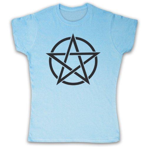 Pentagram Occult Symbol Camiseta para Mujer azul celeste