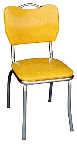 Richardson Seating Handle Back Chrome Diner Chair With 1u0026quot; Pulled Seat,  Cracked Ice Yellow