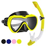 2019 Snorkel Set for Women and Men, Anti-Fog Tempered Glass Snorkel Mask for Snorkeling, Swimming and Scuba Diving, Anti Leak Dry Top Snorkel Gear Panoramic Silicone Goggle No Leak Yellow