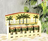 Tropical PALM TREE Wood SPICE RACK Shaker Set Kitchen Organizer Home Decor