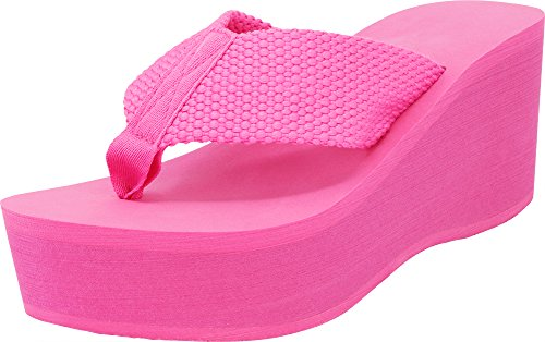 Cambridge Select Women's Comfy Platform Flip Flop Sandal (7 B(M) US, Fuschia)