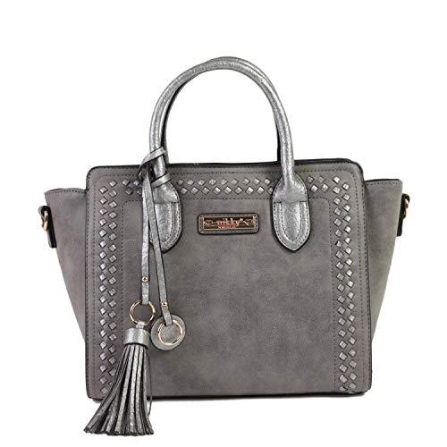 (Nikky Women's Top Handle Gray Satchel Bag, Spacious Compartment, Decorative Tassel Travel Shoulder, One Size)