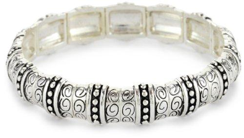 Napier Silver-Tone Textured Stretch Bracelet