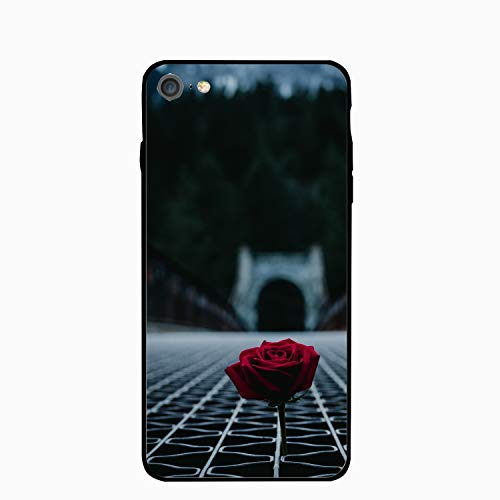 iPhone 6S 6 Case Women Slim Rose Blur Red Floor Latticed Printed Rubber Shockproof Bumper Protective Anti-Scratch Cover
