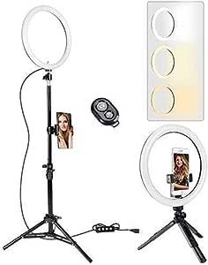 Anillo aro de luz de 10 Inch con 2 trípode, 3 Colores de luz y 11 Niveles de Brillo para Selfie, Mando a Distancia Bluetooth, iluminación para Maquillaje, Live Stream, Youtube