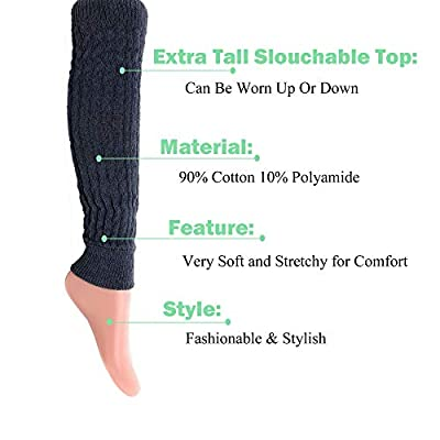 Cotton Leg Warmers Knitted Retro Adult Unisex (Anthracite): Clothing
