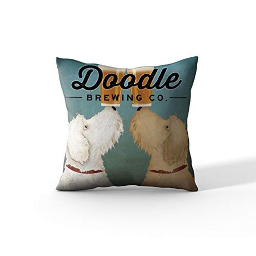 Cortesi Home 'Doodle Beer Double' by Ryan Fowler, Decorative Soft Velvet Square 18