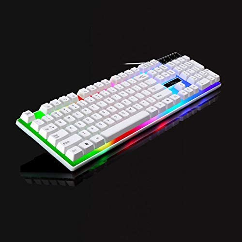 Color : White Hexiaoyi Computer Keyboard Rainbow Panel 104 Key Wired Gaming Keyboard
