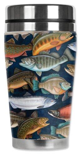 - Mugzie Fresh Water Fish Travel Mug with Insulated Wetsuit Cover, 16 oz, Black