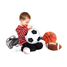 Melissa & Doug Sports Throw Pillows With Mesh Storage Bag - Plush Basketball, Baseball, Soccer Ball, and Football