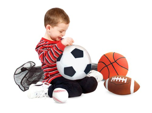 Melissa & Doug Sports Throw Pillows With Mesh Storage Bag - Plush Basketball, Baseball, Soccer Ball, and Football ()