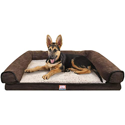 Animal Planet Orthopedic Luxury Dog Bed - Premium Memory Foam Pet Dog Sofa Bed Lounger with Washable Cover - for Dogs & Cats, Jumbo, Brown