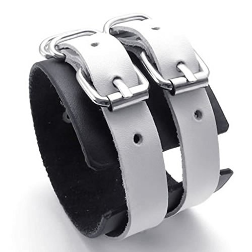 Epinki Leather Bracelet, Mens Belt Buttons Bracelet Black White Length 9 Inch