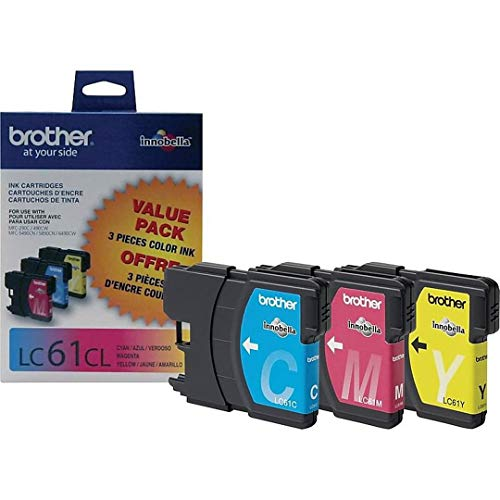 (Brother Set of 3 LC61 Color Cartridges Includes: 1 Cyan LC61C, 1 Magenta LC61M, and 1 Yellow LC61Y All Cartridges are in Genuine Original Factory Sealed Plastic)