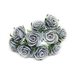 "1"" Blue Grey Paper Flowers Paper Rose Artificial Flowers Fake Flowers Artificial Roses Paper Craft Flowers Paper Rose Flower Mulberry Paper Flowers, 20 Pieces 39"