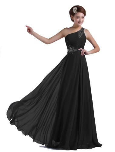 DLFASHION One-shoulder Floor Length Beaded Chiffon Prom Dress (0, Black)