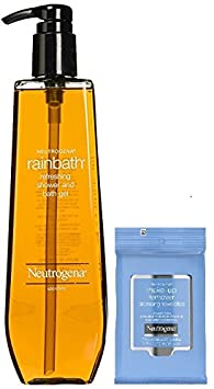 Neutrogena Rainbath Moisture Refreshing Shower and Bath Gel 40 Fluid Ounce, Includes Makeup Remover Cleansing Towelettes