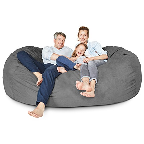 Lumaland Luxury 7-Foot Bean Bag Chair with Microsuede Cover Dark Grey, Machine Washable Big Size Sofa and Giant Lounger Furniture for Kids, Teens and -