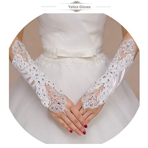 Yalice Women's Rhinestone Bride Wedding Gloves Long Fingerless Lace Bridal Gloves White Satin Party Dress Accessories