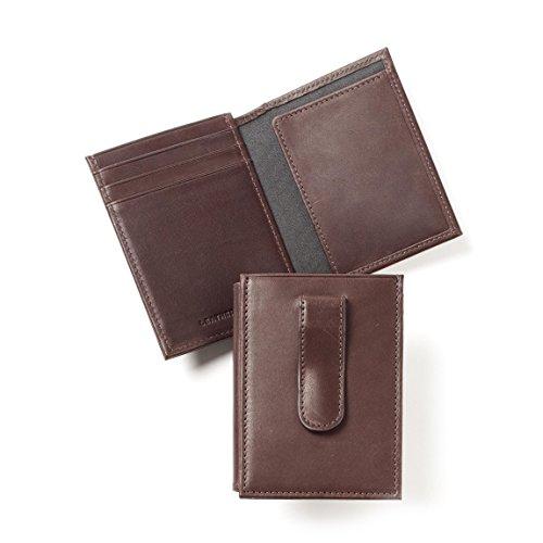 Leatherology Men's Money Clip Card Holder Wallet with ID Window - German Leather - Mahogany (Mahogany Money Clip)