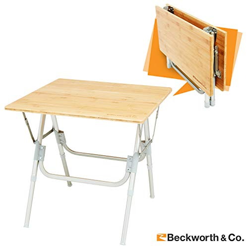 Beckworth & Co. HalfFlip Bamboo Portable Outdoor Picnic Folding Table with Adjustable Height - Square