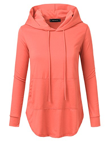 - Doublju Womens Casual Lightweight Long Sleeve Pullover Hoodie with Plus Size Coral 2X