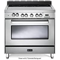 Verona VEFSEE365SS 36' Electric Range with 4 cu. ft. European Convection Oven Black Ceramic Glass Cooktop 5 Burners Dual Center Element Chrome Knobs and Handle: Stainless Steel