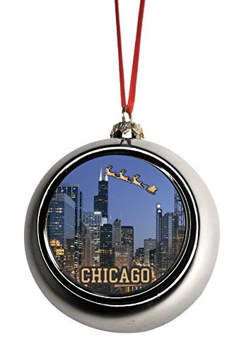 - Lea Elliot Inc. Santa Klaus and Sleigh Riding Over The (Sears) Willis Tower Chicago Illinois Bauble Christmas Ornaments Silver Bauble Tree Xmas Balls
