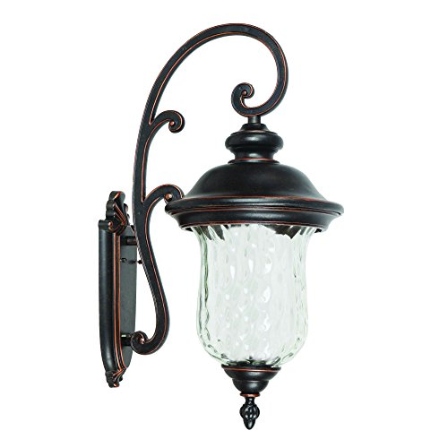 Yosemite Home Decor 4502LDIORB 3 Lights Exterior, Oil Rubbed Bronze Finish with Clear Water Glass