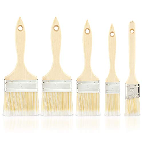 (Hiltex 00308 Brush Paint Stain Varnish Set with Wood Handles, 5-Piece)