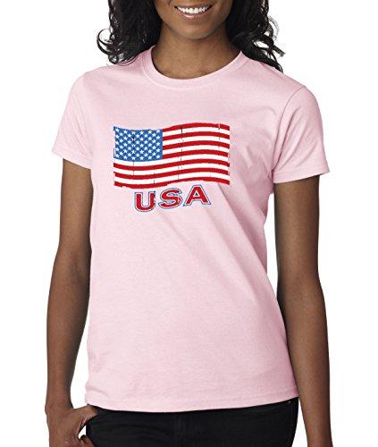 - New Way 719 - Women's T-Shirt USA Flag Distressed Old Glory United States XS Light Pink
