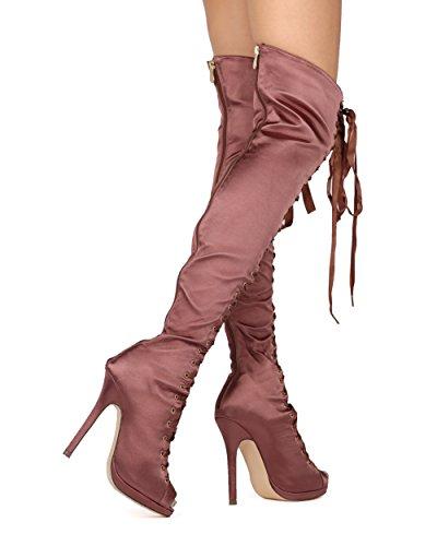Stivale Alto Alla Caviglia Donna Alrisco - Stivaletto Peep Toe - Costume Cosplay Stivale Party Sexy Dress Otk - He06 By Liliana Collection Mocha Satin