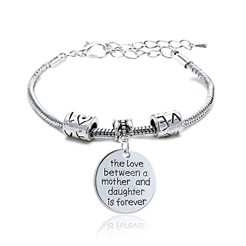 Family New Year Gift Silver Love Heart Round Charm Pendant Bracelet Jewelry for Mother and Daughter 2016 Round Pendant Bracelet